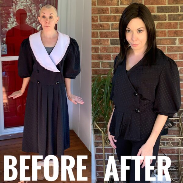 DIY Puff Sleeve Shirt Refashion before and after
