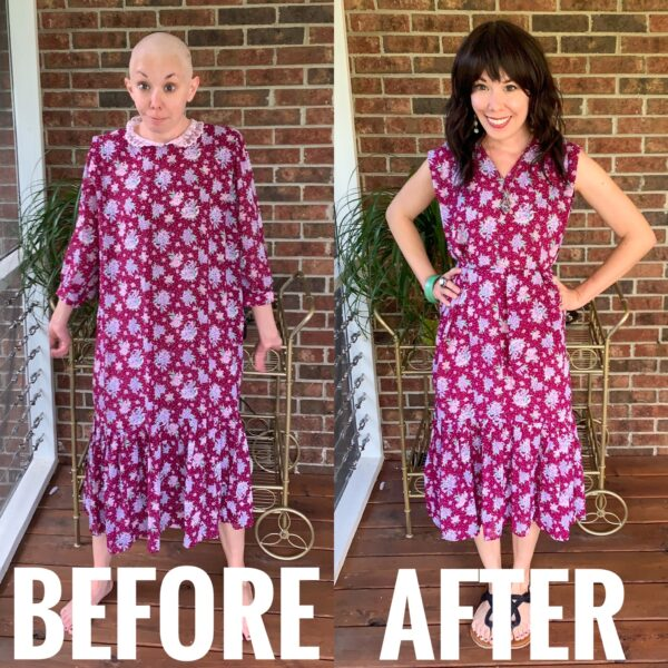 refashionista 80s maternity dress refashion before and after