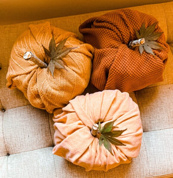 fabric toilet paper pumpkins from overhead