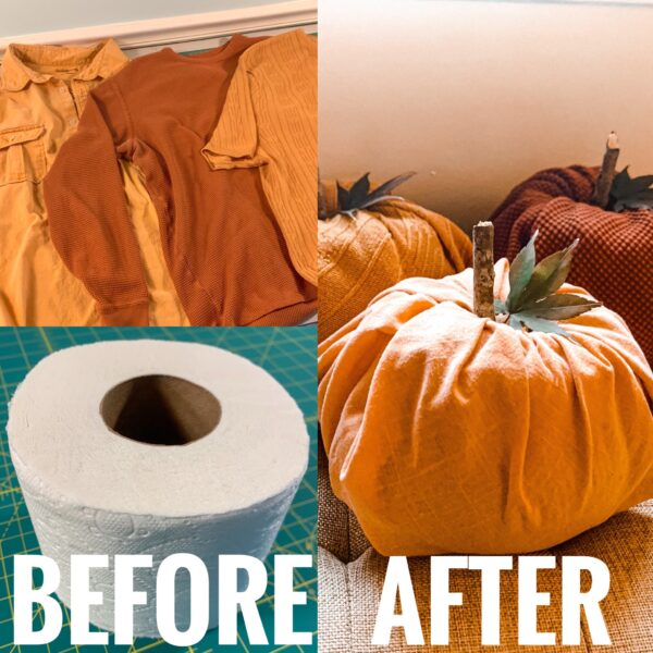 toilet paper pumpkins before and after