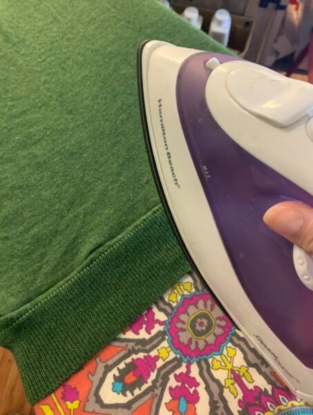 pressing seam with iron