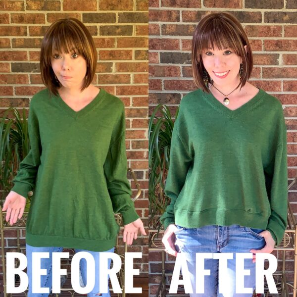 refashionista how to shorten a sweater before and after