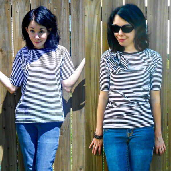 Carrie Bradshaw Striped Shirt Refashion