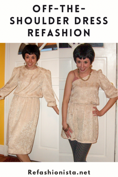 Holidays on Ice: An Off-the-Shoulder Dress Refashion 4
