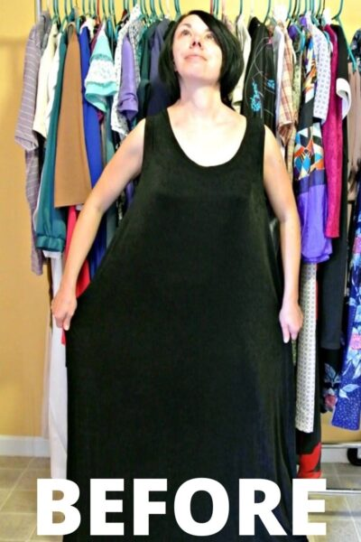 Sleeveless Dress to Keyhole Back Top Refashion 4
