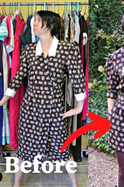 A Cameo Print/Asymmetrical Lapel Dress Refashion 4
