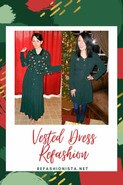 A Christmastime Vested Dress Refashion 1