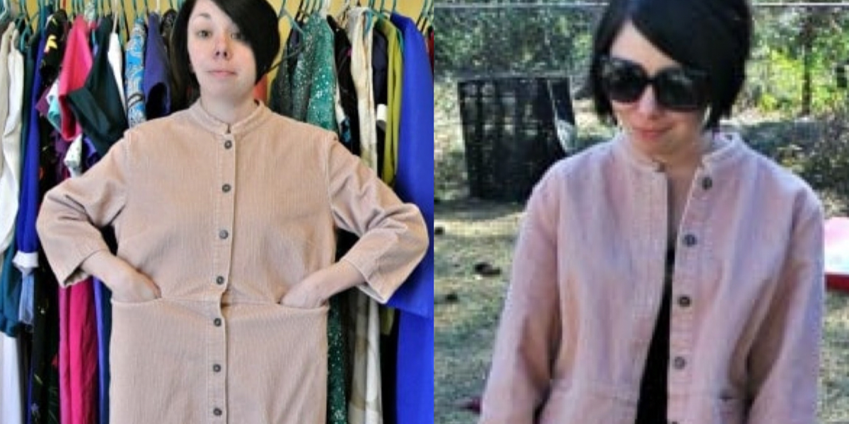 Refashionista corduroy dress to jacket refashion featured image