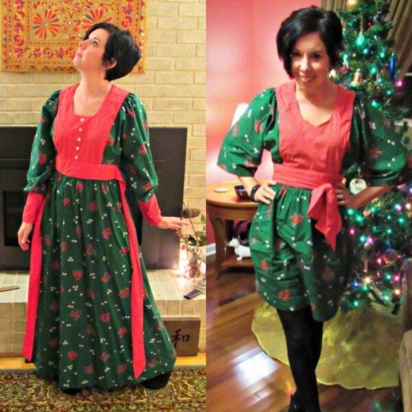 Vintage Christmas Dress Refashion 3