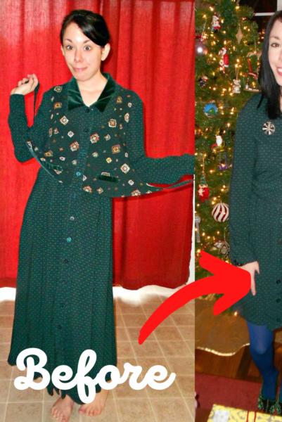 A Christmastime Vested Dress Refashion 5