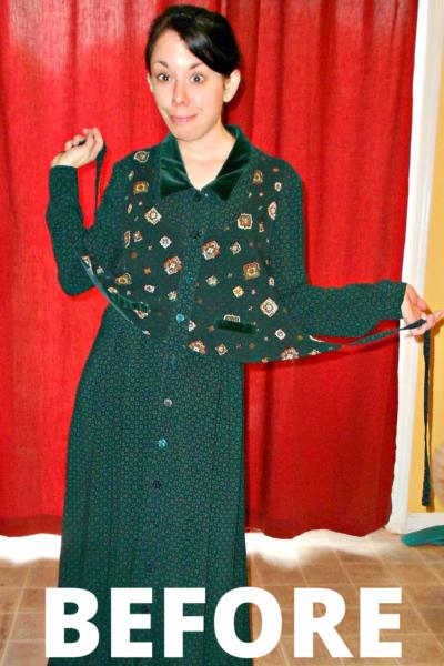 A Christmastime Vested Dress Refashion 3