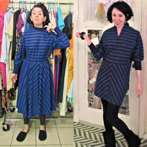 '80s Striped Dress Refashion 4