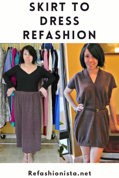 skirt to dress refashion before and after