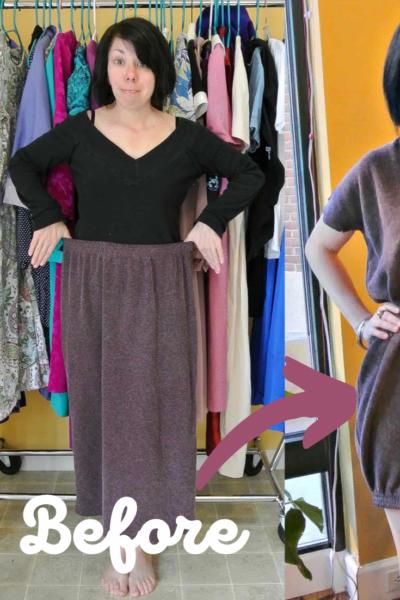 skirt to dress refashion