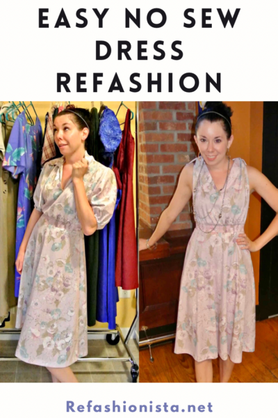 Sleeved to Sleeveless: Easy No-Sew Dress Refashion 3
