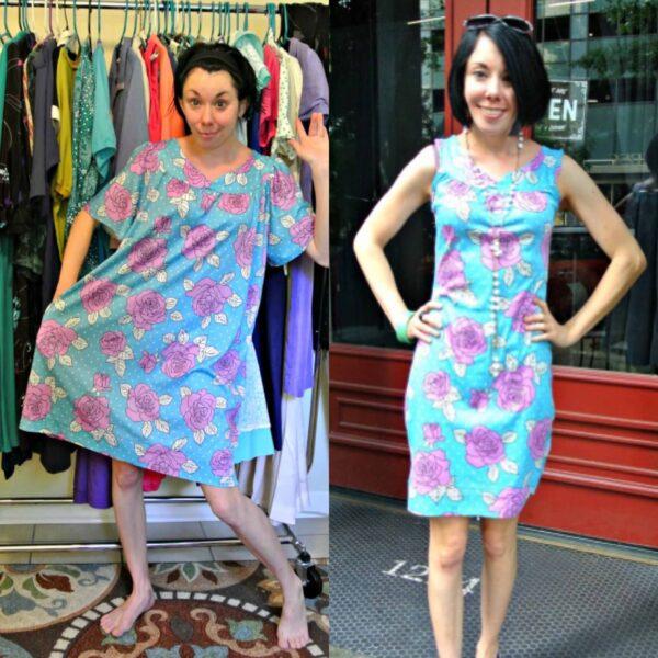 Muumuu to Fitted Dress Refashion