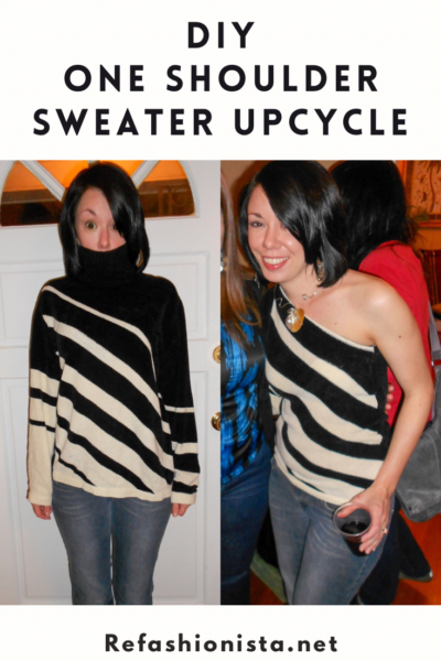 Day 211: DIY One Shoulder Sweater Upcycle 6