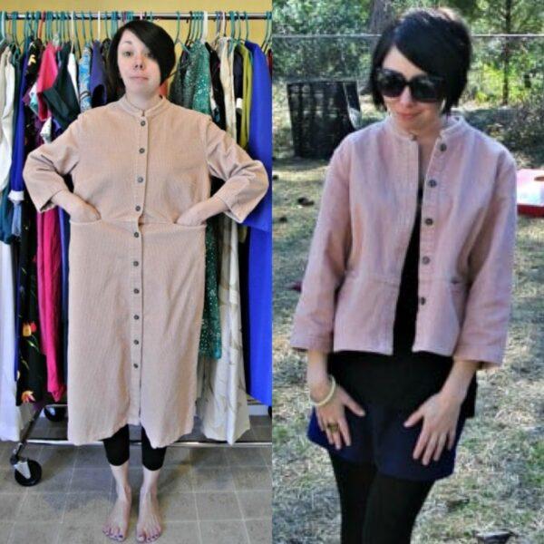 Corduroy Dress to Jacket Refashion 1