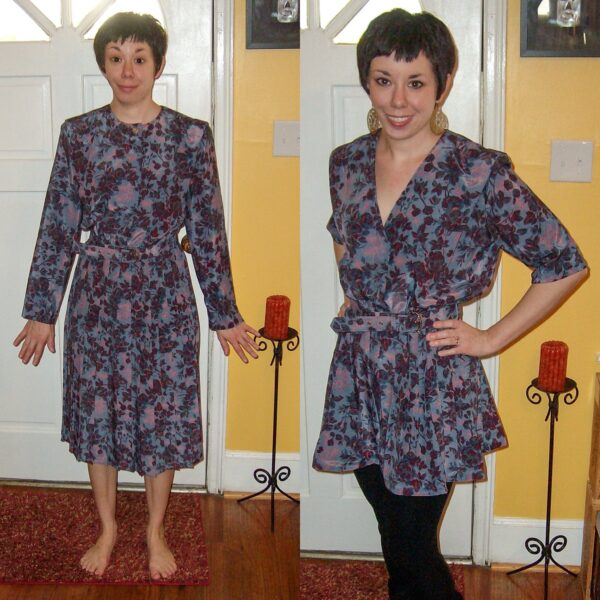 How to Update a '90s Dress by Shortening the Hem and Sleeves before and after