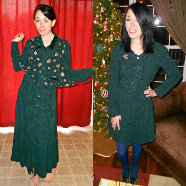 A Christmastime Vested Dress Refashion 2
