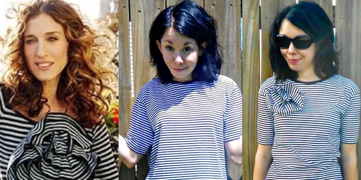 Carrie Bradshaw Striped Shirt Refashion featured image