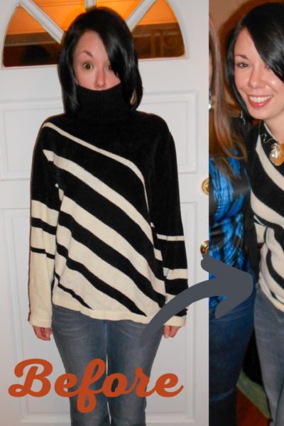 DIY One Shoulder Sweater Upcycle