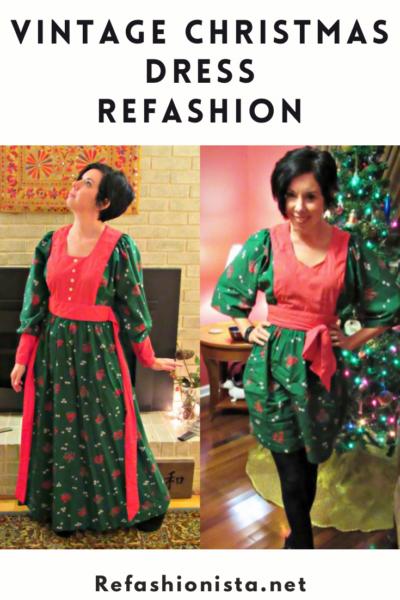 Vintage Christmas Dress Refashion 1