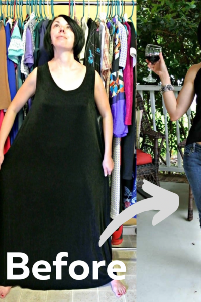 Sleeveless Dress to Keyhole Back Top Refashion 5