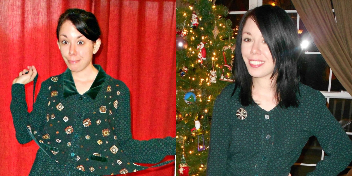 vested dress refashion before and after