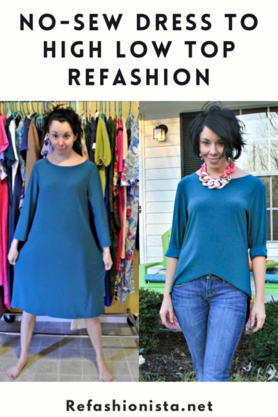 One Dress, Three Ways II: No-Sew Dress to High Low Top Refashion