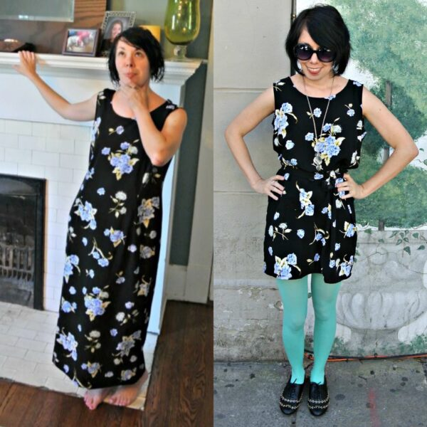 easy dress refashion before and after