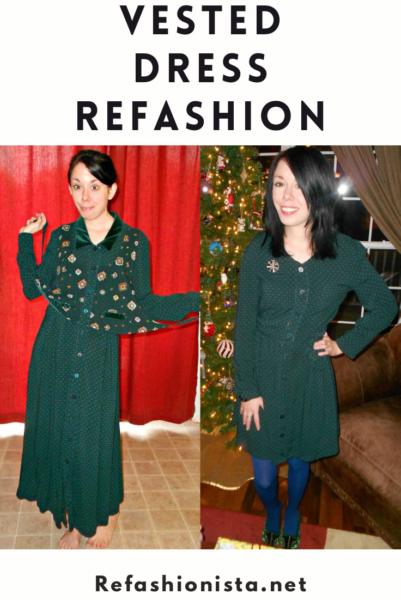 A Christmastime Vested Dress Refashion 4