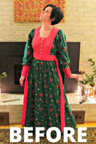 Vintage Christmas Dress Refashion 2