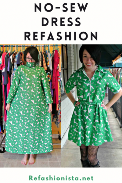 A No-Sew '70s Housecoat to Dress Refashion 5