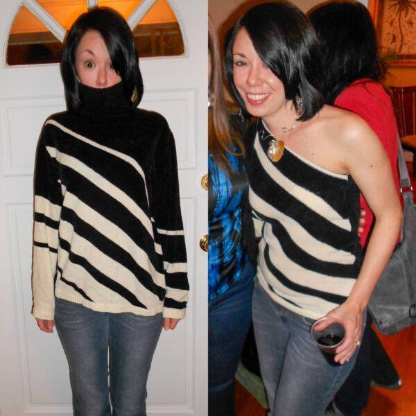 off the shoulder sweater refashion