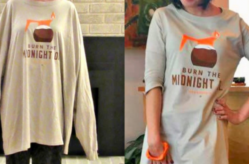 Refashionista Long Sleeve T-shirt to Dress Refashion before and after