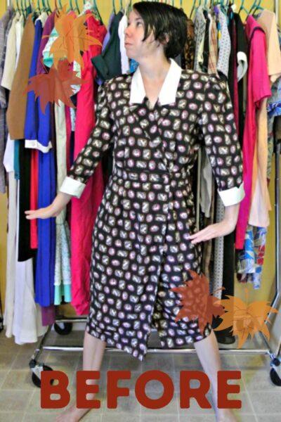 A Cameo Print/Asymmetrical Lapel Dress Refashion 3