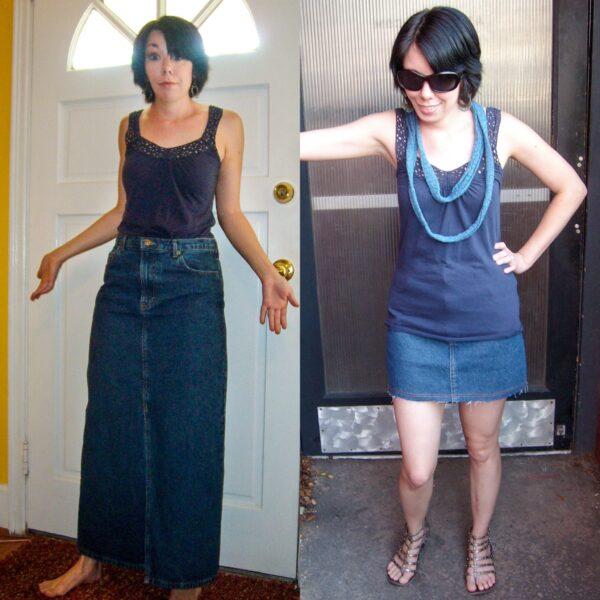 DIY Distressed Denim Skirt 1