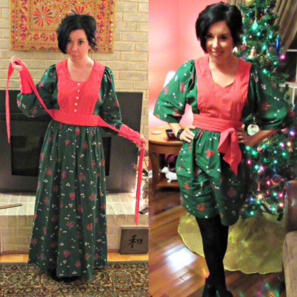Vintage Christmas Dress Refashion 4