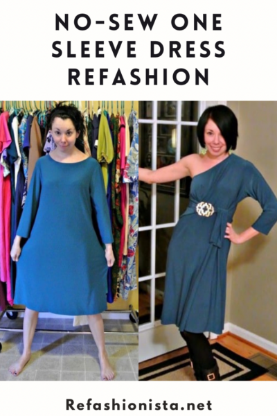 No-Sew One Sleeve Dress Refashion