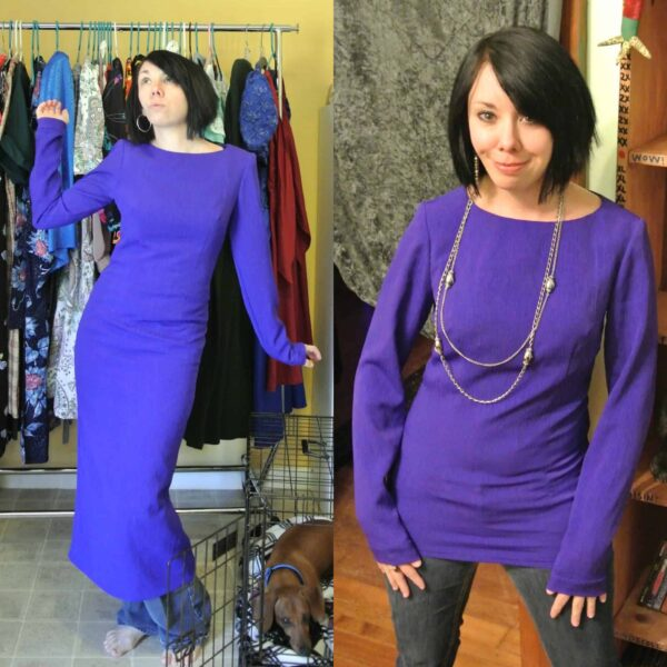 dress to shirt refashion before and after
