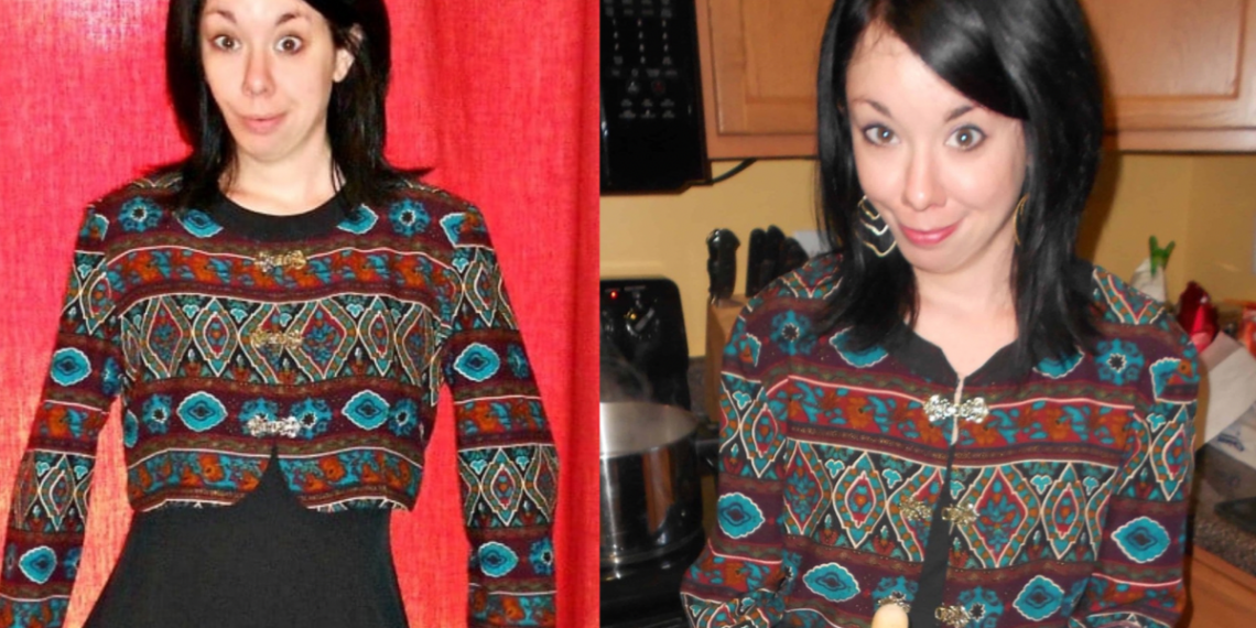 '90s dress to jacket refashion before and after