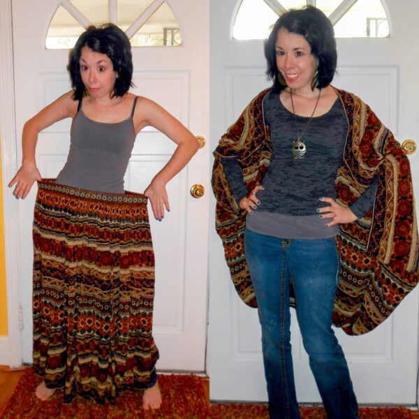 Day 225:  Hippie Skirt to Batwing Cover up Refashion 2
