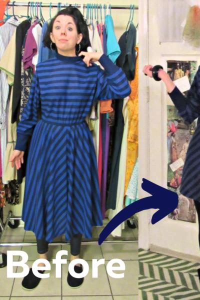 '80s Striped Dress Refashion 5