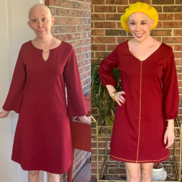 Easy Bell Sleeve to Puff Sleeve Dress Refashion
