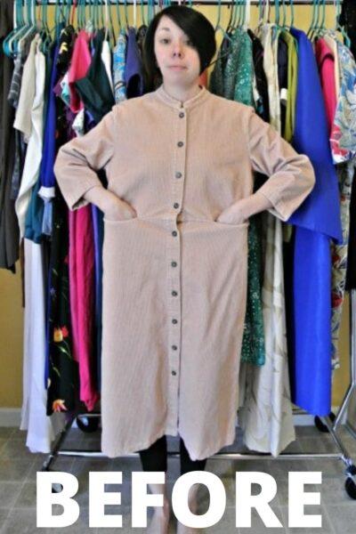 Refashionista corduroy dress to jacket refashion