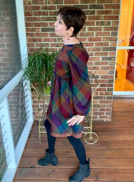 how to raise hem on elastic waist dress after side view