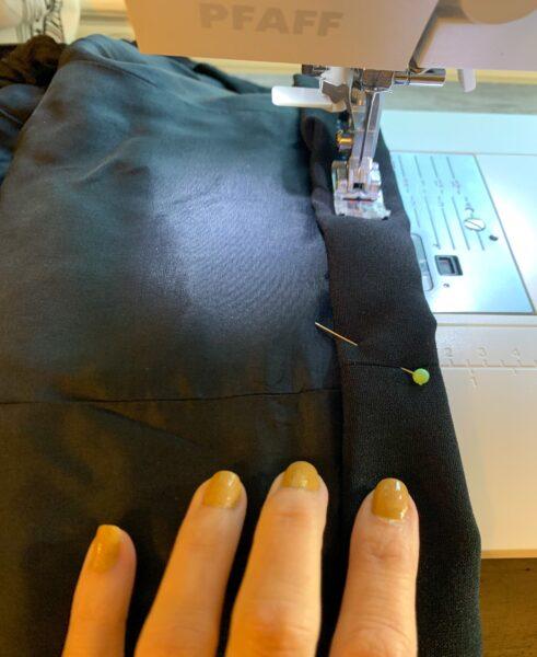 sewing bottom hem of blazer