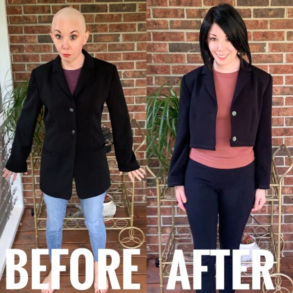 diy cropped blazer before and after