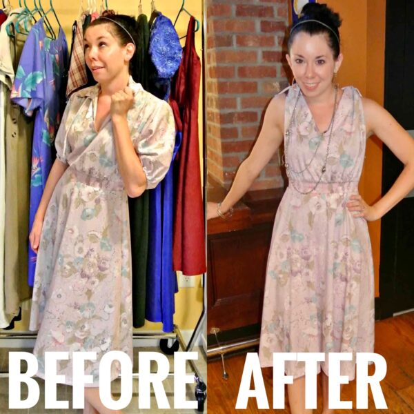 refashionista easy sleeved to sleeveless sundress refashion before and after